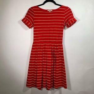 Bordeaux Anthropologie Stripe Red Pleated Dress